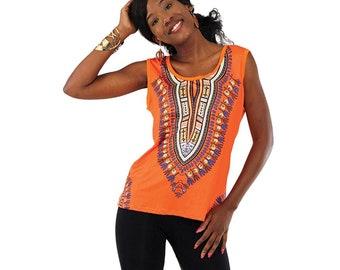 Africa  Traditional Print Stretch Tank Top  - Orange