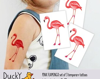 """Set of 3 temporary tattoos """"Pink flamingo"""". Watercolor hand painted illustration, summer vibes. Tropic and flamingo party favors. TT117"""