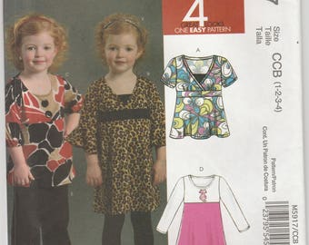 Top Pattern Dress and Pants Toddler Girls Size 1 - 2 - 3 - 4 Uncut McCalls 5917