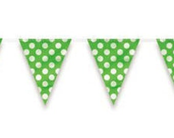 Lime Green Polka Dot Party Flag Banner