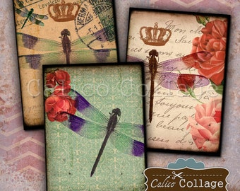 2.5x3.5 Dragonflies Digital Collage Sheet ATC Size Images for Card Making, Greeting Cards, Mini Cards, Jewelry Cards, Decoupage Paper