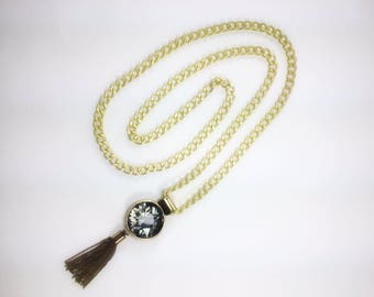 Gold Chain Necklace with Crystal Pendant Tassel