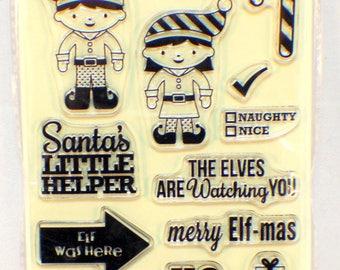Jillibean Soup Christmas Cheer Elves Hampton Art Clear Cling Rubber Stamp Set
