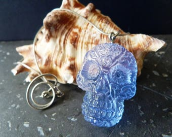 Sugar Skull Resin Necklace, Skull Necklace, Silver Chain, jewelry