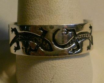 Sterling Silver Man's Salamander Band Ring-Size 12