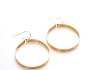 Sculptural Large Hoop Earrings | Large Hoops | Gold Hoops | Silver Hoops | Minimalist Earrings | Circle Earrings | Minimal Jewelry