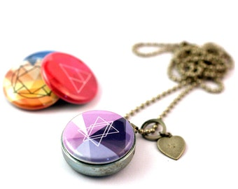 Sacred Geometry Locket, Magnetic, 4 in 1 , Layering Necklace, Geo Necklace, Magnetic, Personalized With Initial, Gift for Her