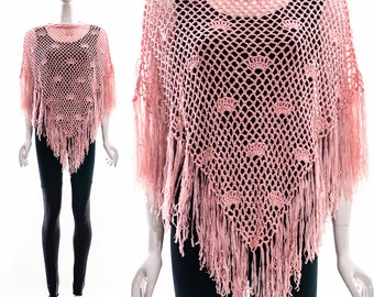 Vintage Blush Pink CROCHET Poncho FRINGE CAPE Seashells Fans Knitted Sweater Jumper Bohemian Hippie Hippy Gypsy Shawl One Size Fits All