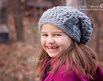 Crochet Patterns - Slouchy Hat Crochet Pattern - Crochet Hat Pattern - Crochet Patterns for Babies - Baby Toddler Child Adult Sizes -PDF 207