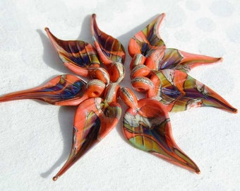 8 Organic Coral Leaves,  handmade glass bead leaves, lampwork beads by Beadfairy Lampwork, SRA