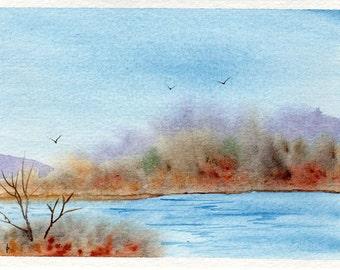 Original watercolor painting   SFA greeting card FALL changes
