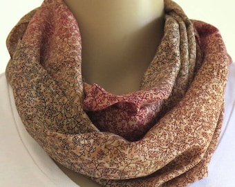 Brown Infinity Scarf, Round Scarf
