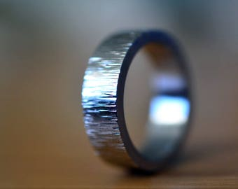 Men's Stainless Steel Wedding Band, Personalized Hammered Tree Bark Ring, Customized Engraved Engagement Jewelry