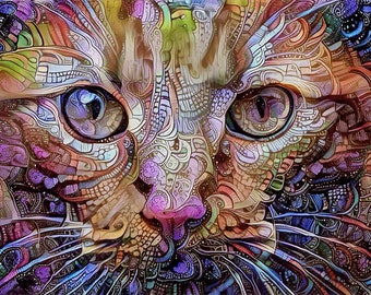 Cat Print, Cat Art, Cat Lover Gift, Cat Lady, Orange Cat, Colorful Art, Surreal Art, Colorful Decor, Cat Photo, Cat Face, Psychedelic Art