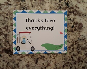 golf thank you card etsy