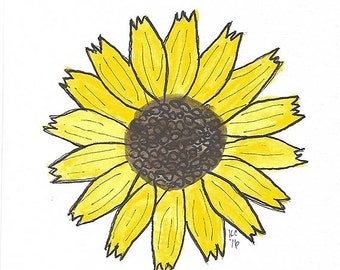 Original Art - Drawing of a Sunflower - Prismacolor Markers and Ink - Botanical Art