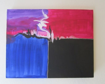 Acrylic Painting, Abstract Art, Abstract Acrylic Painting, Magenta Sunset