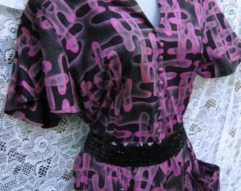 Wild 1950s 50s dress, ROCKABILLY  CUT Out Shoulders Peg Palmer dress, Cocktail Party Dress,Black Purple Dress, Cotton Dress 1950s 50s,