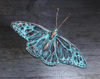 Monarch Butterfly wall sculpture in copper with blue green patina