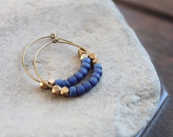 Kalimantan Antique Brass Creole Hoops with Matte Monaco Blue Glass and Faceted Brass Beads - Matches Kalimantan Bracelet