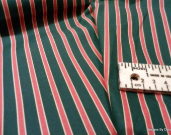 Clearance SALE, One Fat Quarter Cut of Quilt Fabric, Christmas, Red and Green Stripes from Marcus Brothers, Quilting-Sewing-Craft Supplies