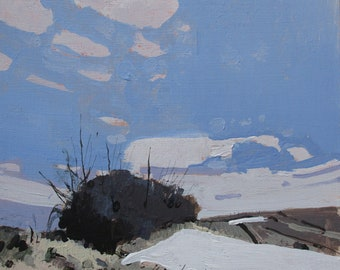 Snow Patch, Little Stand, Original Spring Landscape Painting on Panel 8 x 8 Inches, Stooshinoff