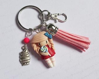 "Handbag charm girl ""pastel pink hair, red dress charm cupcake"""