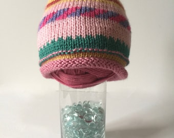 Fair Isle baby hat, striped baby beanie, baby girl hat, Fair Isle toddler beanie, pink toddler beanie, toddler slouchy hat