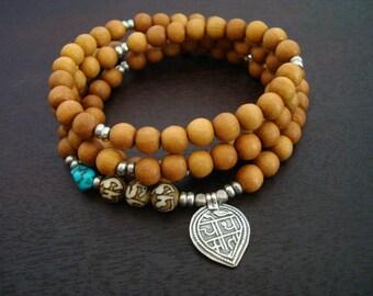 Women's Turquoise & Sandalwood Good Health Mala // Necklace and Wrap Bracelet // Yoga, Jewelry, Buddhist, Meditation, Prayer Beads, Jewelry