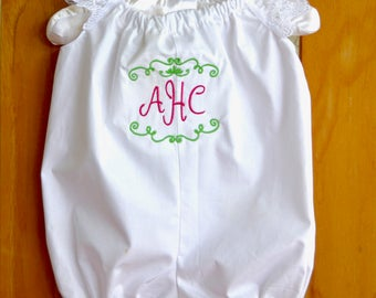 Personalized baby girl romper in unicorn print and sweet lace flutter sleeves.