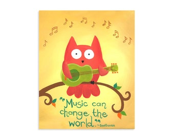 Music Can Change the World - Owl and Guitar Art Print