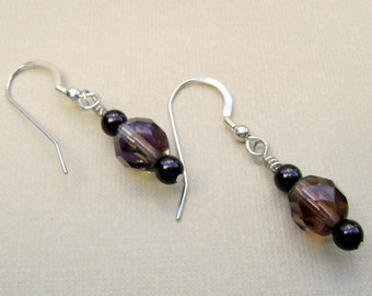 Smoked Topaz and Chocolate Pearls dangle earrings