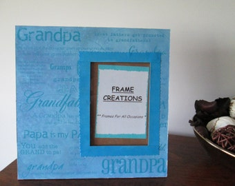 5x7 Grandpa Themed - Hand Decorated Picture Frame