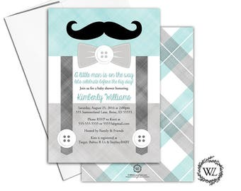 Bow Tie Baby Shower Invitation for Boys, Suspender Baby Shower Invites, Mint Gray, Printable or Printed - WLP00771