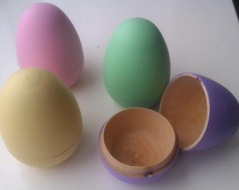 Last few remaining** limited edition Two part hollow wooden Easter eggs personalised easter egg hunt