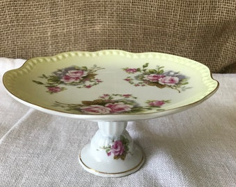 Lovely Hand Painted Candy Dish by Lefton China/Pedestal Dish for Weddings/Mother's Day/Shower Gift