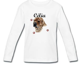 T-shirt sleeves Sharpei girl personalized with name