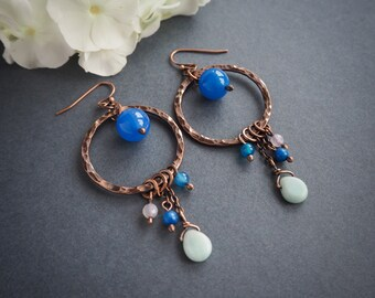 blue boho style copper earrings, long dangle hoop earrings, hippie style summer jewelry, rustic style, gift for her, colorful earrings