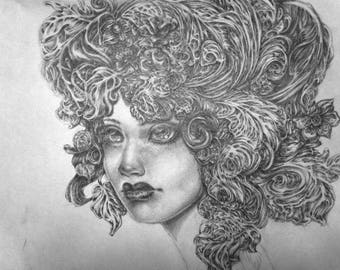 Original Pencil Drawing - My Feathery Head