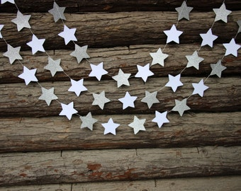 Glitter Silvery and White Star Garland Wedding Birthday Home Party Decorations