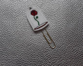 Adorable Rose In Glass Planner Bookmark. Planner Feltie Clip.  Paperclip.  Felt Clip. Planner Gifts.  Stationery.  UK SELLER!