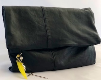 Upcycled leather clutch / Upcycled leather clutch bag / Leather clutch / Fold over clutch / Preloved leather / Preloved clutch /