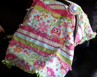 Infant seat canopy Owl rag quilt style minky lined