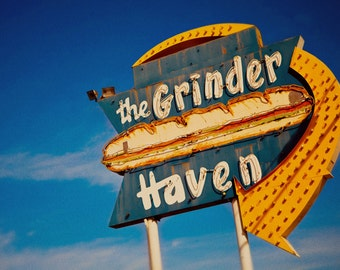 Grinder Haven Neon Sign Print | Sub Sandwich Neon Sign | Ontario Photography | Retro Kitchen Decor | Gifts for Him | Retro Kitchen Wall Art