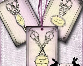vintage scissors tags - vintage sewing, gift tags, handmade