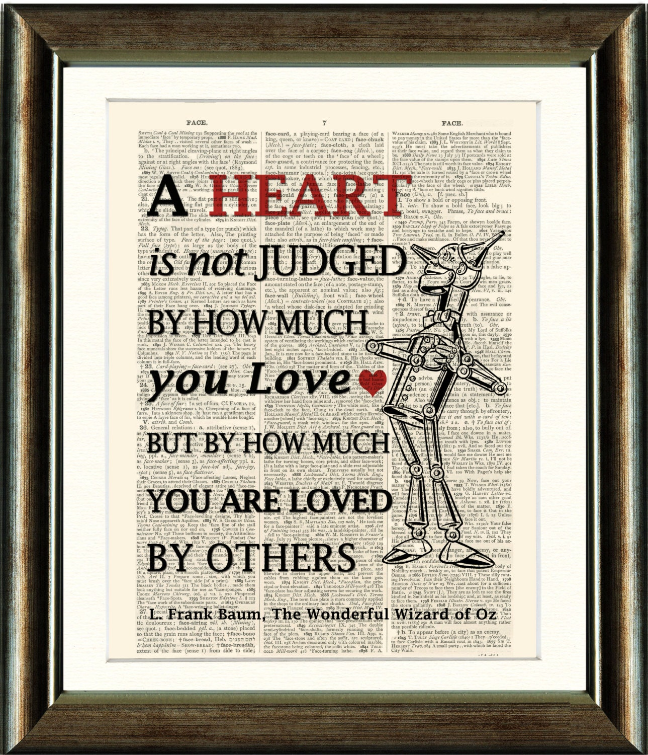 Wizard Of Oz Tin Man Heart Quote Vintage Book Page Print