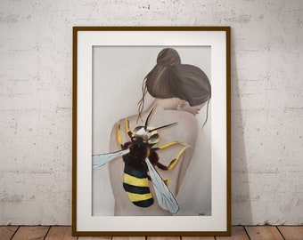 Together art print oil painting, bee, spirit animal, wall art