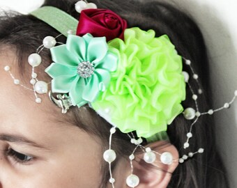 12m to 4T Toddler Headband Flower Girl Headband, Toddler Flower Headband, Lime Headband Raspberry Rose Headband, Wedding Headband Prop