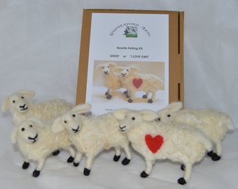 Needle Felting Kit 1 Sheep or 'I Love Ewe' Sheep with red heart for gift - for beginners or improvers