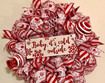 READY TO SHIP Winter/Peppermint/Christmas wreath